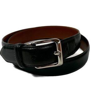 "Coach black belt silver tone buckle size 34"""
